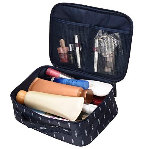 Kosmetiktasche/Reise Kulturtasche mit Großer Kapazität, Portable Cosmetic Organizer Kosmetiktasche für Frauen von SKYNEW,Blaue Feder -