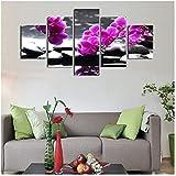 Kunstwerk Moderne Art 5 Panel Blumen Dekoration Wohnzimmer Phalaenopsis Wand Leinwand Prints-40x60cmx2 40x80cmx2 40x100cm Kein Rahmen