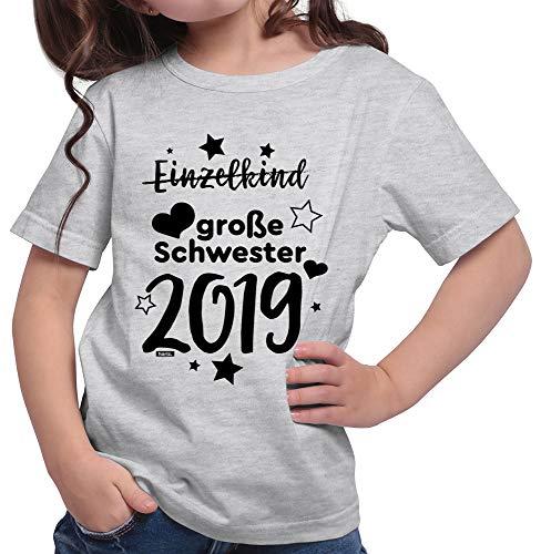 HARIZ  Mädchen T-Shirt Einzelkind Große Schwester 2019 Sterne Große Schwester Geschwisterliebe Bruder Geburt Plus Geschenkkarte Hell Grau 140/9-11 Jahre