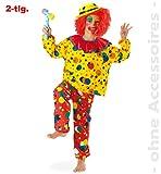 Fasching Karneval Kostüm Clown Jupp, 2tlg., Oberteil + Hose: Größe: 128