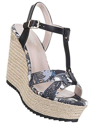 Damen-Schuhe Sandaletten | elegante High-Heel mit Plateau und Keil Absatz in verschiedenen Farben und Größen | Schuhcity24 | Pumps mit Schnallen Verschluss | Absatz in Bastoptik Schwarz