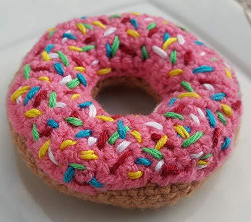 gehäkelter Donut für Kaufladen, als Deko oder Nadelkissen pink mit bunten Zuckerstreusel