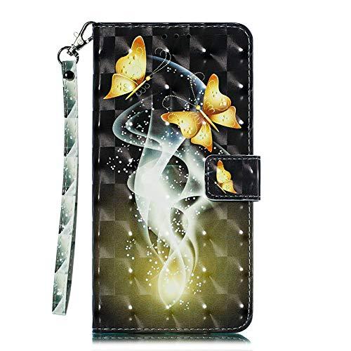 Coopay Coque Galaxy J7 2017 Portefeuille Housse Etui en Cuir PU Samsung J7 2017 Fantaisie Doré Papillons Motif Glitter avec Fente de Carte Fonction Support Intégrale Antichoc Protection + Dragonne Cou