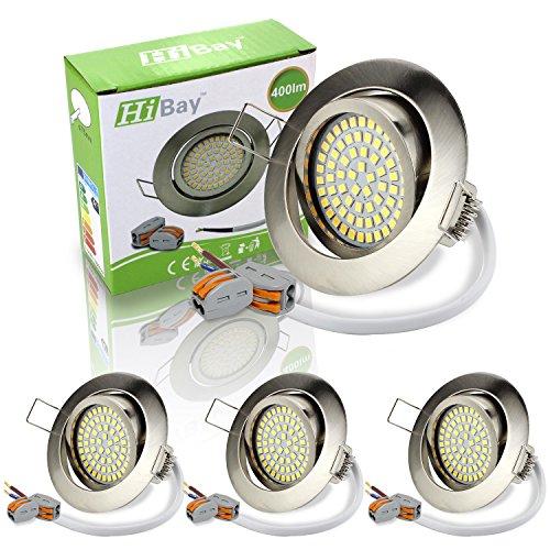 2 Jahre Garantie Vorteile (HiBay® Ultra Flach LED Einbaustrahler - Tolles Design - Warmweiss - 3,5W Leuchtmittel 230V Edelstahl gebürstet Optik Schwenkbar - Einbauspots -LED Einbaurahmen - 4 Stück Einbauleuchten - 2 Jahre Garantie)