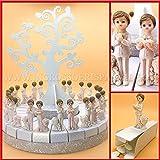 Grob und Einsparung Tortenaufsteller aus weißem Karton mit Figuren für Kinder, Erstkommunion und Baum des Lebens, 18 oder 24 Scheiben, Gastgeschenke männlich 24 Fette (A) Senza Confetti