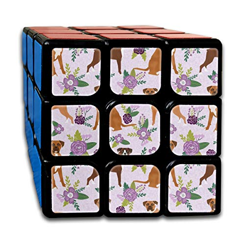 Boxer Pet Quilt C Dog Breed Nursery Coordinate Floral_281 3x3 Magic Speed Cube Smooth Speed Magic Rubik Cube Puzzles Toys -