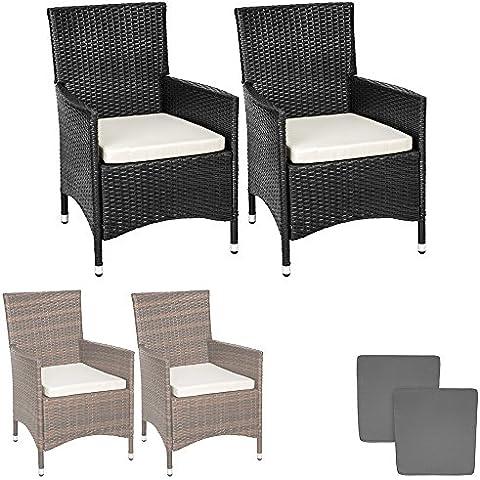 TecTake 2 x Ratán sintético silla de jardín set marco de aluminio con cojines + 2 Set de fundas intercambiables, tornillos de acero inoxidable - disponible en diferentes colores - (Negro)