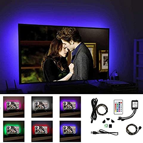Bias TV Backlight for HD TV 5050 RGB Led Light Strip 2x50cm, Geekeep USB Powered TV Monitor Decoration Light Strips Flexible Adhesive Back Tape + 24 Key Remote Control + 5 Adhesive Wire Cord Cable Holder Tie Clip(Reduce Eye Fatigue and Increase Image