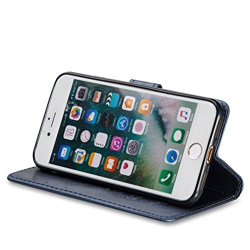 iPhone 8 Flip Case Leder,Ultra Slim Exklusive Echtleder Tasche Handyhülle für iPhone 7,BtDuck 360 Grad Flip Case Vertikal Klappbar aus Echtleder Flip Cover Hülle Lanyard Ledertasche Wallet Bookstyle C #E Blau