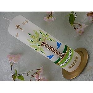 Taufkerze Kerze zur Geburt Taufe Kommunion Hochzeit Mädchen 250/70 mm inkl. Beschriftung