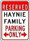 VINMEA Haynie Family Parking - personalisierter Nachname - 17,8 x 25,4 cm hochwertiges Aluminiumschild