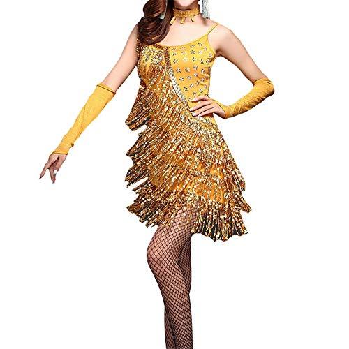MISHUAI Tanzkleid für Damen Frauen ärmellose Pailletten Quaste Latin Dance Kleid Outfit Perlen Fringe Flapper Cocktailkleid Lady Stage Performance Dancewear Kostüme Tanz Performance Rock