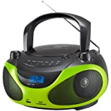 SENCOR SPT 228BG, Tragbares Radio mit CD/MP3-Player (AM/FM-Stereo Receiver, LCD-Display, 2x 15 Watt, USB) schwarz/grün