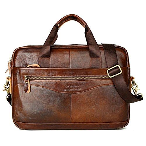 Laptop Umhängetasche, JOSEKO Vintage Echtes Leder Handtasche Business Crossbody Tasche 14