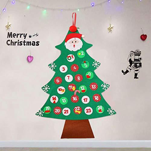 Gudotra Calendario dell' Avvento Feltro Albero di Natale Appendere alla Parete Regali di Natale per Bambini Decorazione Natale 95x66cm