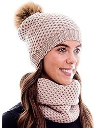 Hilltop Winter Kombi Set aus Winter Schal und passender Strickmütze / Bommelmütze mit Pompon / versch. Farben