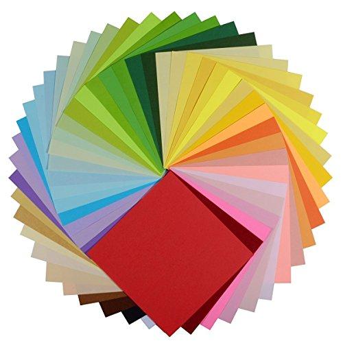 Origami Papier Set, Origami Papier, Superior Doppelseitige 250Blatt 50lebendigen Farben quadratisch DIY Faltblätter Origamipapier Crane für Arts Handwerk Projekte [15,2x 15,2cm] -