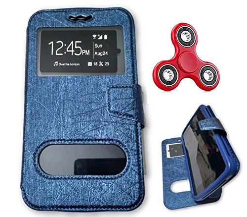 BKDT Marketing Leather finish Flip Cover Case Stand Diary Style for MICROMAX Canvas Turbo Mini A200 with Dislay Window and Stand - Blue with Fidget Spinner  available at amazon for Rs.519