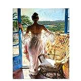 DIY Malen Nach Zahlen Abbildung Malerei Acrylfarbe Durch Zahlen Wandkunst Bild Für Wohnkultur Geschenk - Frauen 16 * 20 Zoll,Withframe
