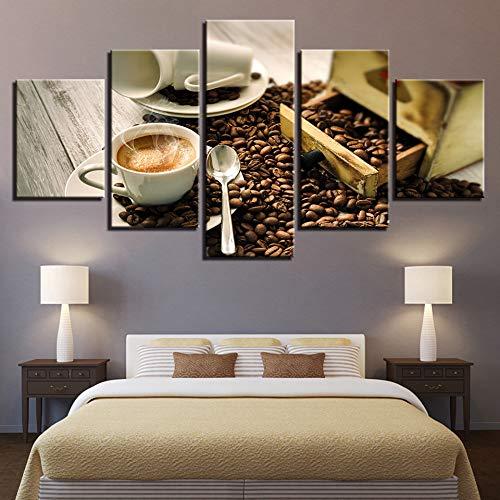ZKLIB HD Leinwand Poster 5 Stück Kaffeebohnen Aroma Küche und Esszimmer Dekoration, 20x35cmx2 20x45cmx2 20x55cmx1