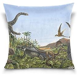mrmian manta fundas de almohada de cojín caso Dinosaurio casa decorativa cuadrada duradero