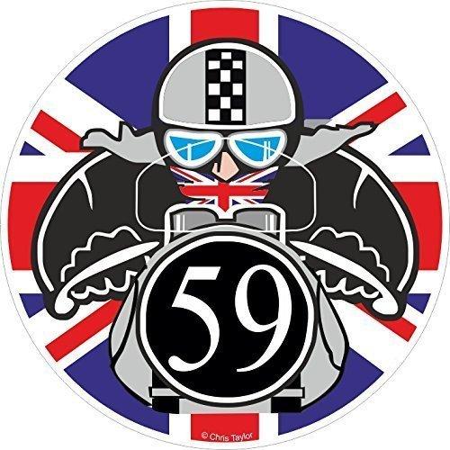 Retro Cafe Rennen Tonne OBEN Biker Rundes Design Mit Union Jack Vinyl Auto Motorrad Helm Aufkleber Aufkleber 90x90mm (Retro-rennen)