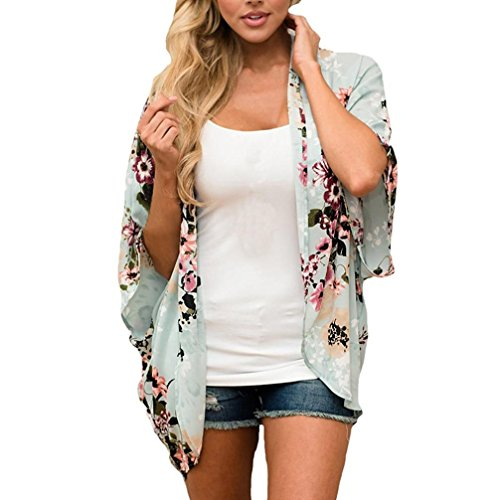 One-shoulder Kimono Top (Bekleidung Longra❤️❤️ Damen Cardigan Sommer Chiffon Blusen Floral Print Kimono Sommerkleid Schal Tops Damen Boho Cardigan Bikini Cover Up Blusen Beachwear Strandponcho Strandkleid (Green, M))