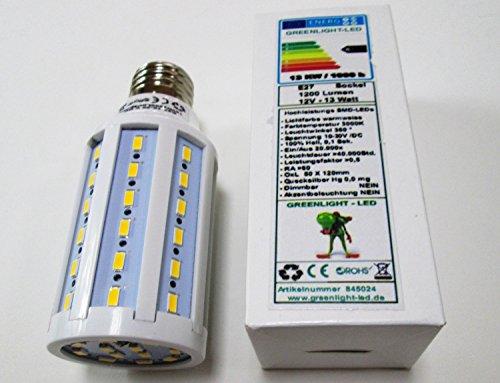 LED E27 13 Watt warmweiss 1200Lm, neuer Chip, 10-30 Volt DC, optimal für Gartenhäuser, Wohnmobile...
