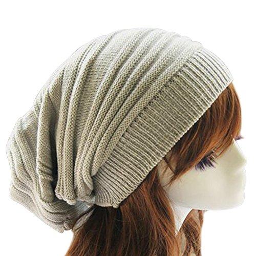 Eizur Unisex Slouch Berretto Lavorato a Maglia Cappello Tessono Inverno Caldo Cranio Beanie Slouchy Cuffia Hat Baggy Crochet Cap - Grigio