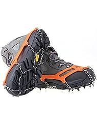 ICE TRACTION CRAMPONS Par de zapatos de Hielo Tacos Crampon Bota de la nieve de Spike Tacos Cadena antideslizante, de color amarillo