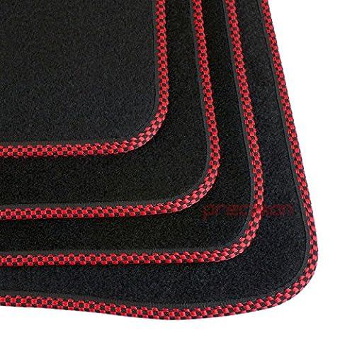Alfa Romeo Giulietta 2010-2013 ~ Tailored Black Carpet Car Mats (Red Chequered)