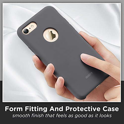 iPhone 7 Case,ESR [Slim Thin][Shock Absorbing] iPhone 7 Liquid Silicone Case Cover for 4.7 inches iPhone 7 Dark Grey iPhone 7-Yippee-Grey