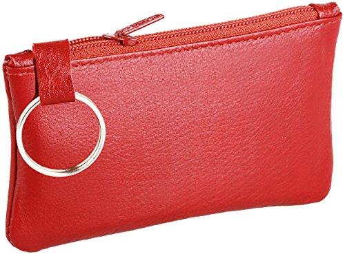 Schlüsseltasche / Schlüsseletui aus Rindleder(Vollleder), Modell 3500, Farbe:Rot (Leder Schlüsselanhänger Red)