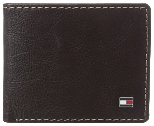 Tommy Hilfiger Men's Leather Slim Billfold Wallet,Brown (Tommy Hilfiger Geldbörse Herren Slim)