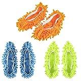 OUNONA 6 STÜCKE / 3 Paar Mikrofaser Staubmopp Hausschuhe Multifunktions Bodenreinigung Faul Schuhabdeckungen Staub Haar Reiniger Fuß Socken Mopp Caps 3 Sortierte Farbe
