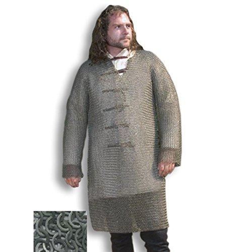 Hauberk - Langarm Kettenhemd, Mittelalterliches Kettenhemd, LARP,Brustschützer, Reenactment Kostüm, Vernietetes Kettenhemd, Mittelalter ()