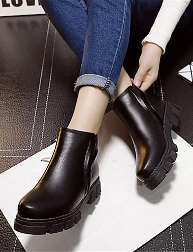 ShangYi Mode Frauen Schuhe Damen Stiefel Frühjahr / Herbst Reitstiefel / Kletterpflanzen Kunstleder schwarz zu anderen Plattform im Freien Schwarz