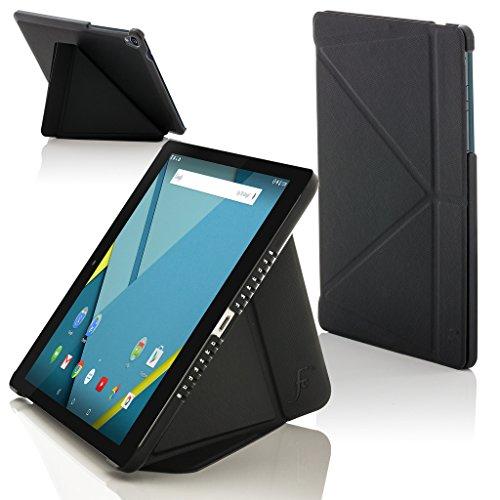Forefront Cases® Google Nexus 9 8.9 Zoll Origami Hülle Schutzhülle Tasche Bumper Folio Smart Case Cover Stand - Rundum-Geräteschutz und intelligente Auto Schlaf / Wach Funktion (SCHWARZ)