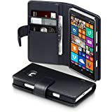 Terrapin - Nokia Lumia 930 Real Leather Wallet Case / Cover / Pouch / Holster with Card Slots & Bill Compartment - Black