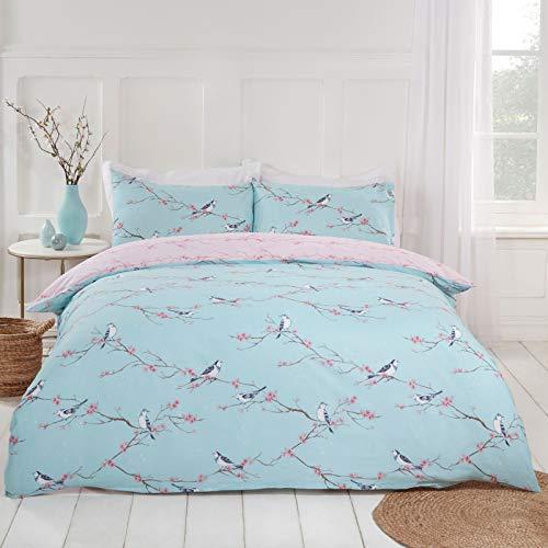 Dreamscene Blossom Bird Bettwäsche-Set für Doppelbett, Hellrosa -