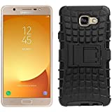 Colorcase Defender Hybrid Back Cover Case with Kick Stand for Samsung Galaxy On Max - (Black) with Tempered Glass (Combo Set)