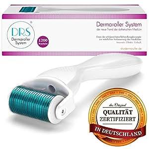 DRS Body Dermaroller mit 1200 Nadeln, wechselbarer Aufsatz, Medizinprodukt Klasse I mit CE-Kennzeichnung, Nadeln aus Edelstahl, Gebrauchsanweisung auf Deutsch und Englisch, Nadellänge:2.00mm