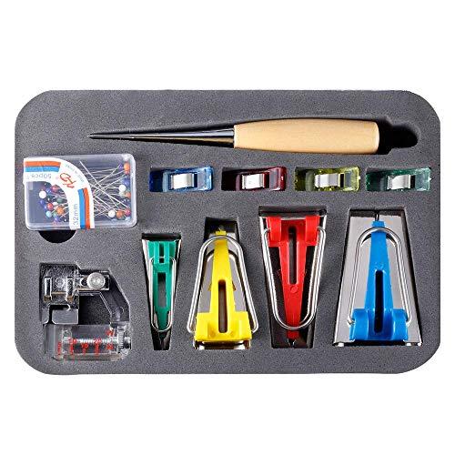 KA MAI KA Fabric Bias Tape Set Schrägband Werkzeug mit Nähnadel, Perlennadel, verstellbarem Binderclip, Holzhacke, Fußpresse - Praktischer Schrägbandformer für Nähen/Quilten