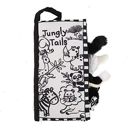 Tails Cloth Book, Soft Baby Activity Crinkle Die tierischen Früherziehungsbücher für Kinder(Black White Jungle) -