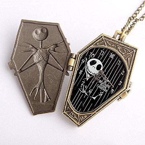 AWStech Retro Vintage Quarz Taschenuhr Analog Digital Schädel Skull Skelett Uhren Fright Burton\'s Nightmare Before Christmas Pocket Watch