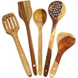 Classic Shoppe Handmade Handicrafted Wooden Serving And Cooking Spoons Kitchen Utensils Set Of 5 -brown