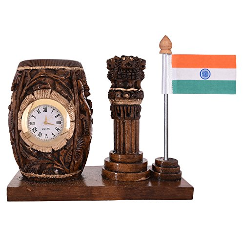 Craft Trade Dark Brown Wooden Clock Pen Stand With Ashok Stambh And Flag