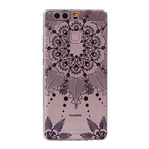 Huawei P9 Case,Huawei P9 Transparent Case,Huawei P9 TPU Case, Ukayfe [Ultral Thin] [Scratch Resistant] Transparent Clear Soft TPU Bumper Case Cover for Huawei P9 (5,2 inch), Beautiful Flower Series Print Clear TPU Gel Rubber Skin Cover for Huawei P9 (5,2 inch) - Black Totem Test