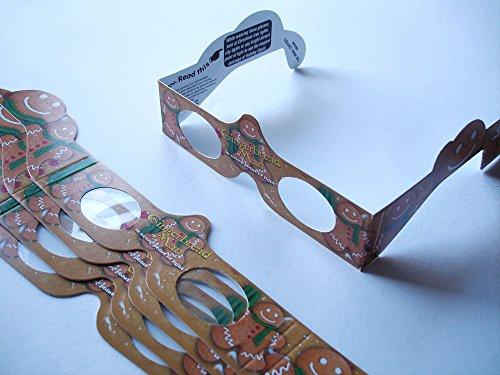 5 Stück HoloSpex 3D Brille Gingerbread Man, Lebkuchenmann, Weihnachten (Happy Eyes, Holiday Specs) / Weihnachtsbrille, Effektbrille, Partybrille, Spaßbrille