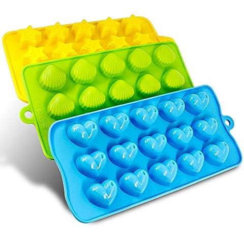 Silicon Molds- Senhai Pack 3 Candy, chocolat Moules à glaçons Plateaux - Coeurs, Stars & Shells, Fun, Kids Toy Septembre